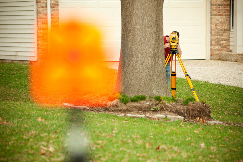 survey exceptions total station behind tree